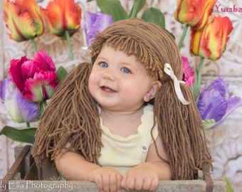 cabbage patch hat brown pigtail wig baby hat halloween costumes dorothy costume