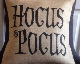 Halloween Hocus Pocus burlap pillow cover hessian cushion cover
