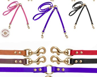 Two Dog Brass Leash Coupler Set Small Medium Large Red Black Brown Pink Purple