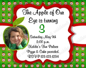 Apple Birthday Invitation with Photo Print Your Own 5x7 or 4x6