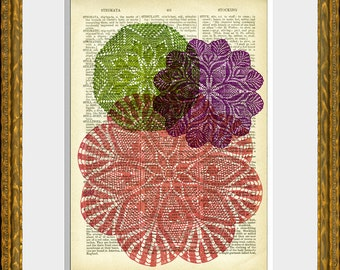 DOILY LOVE 02 recycled book page art print - antique 1800's dictionary page with an original graphic design - home decor - vintage charm