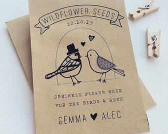 50 Personalised vintage style seed packet favours by Katie Elliott Designs