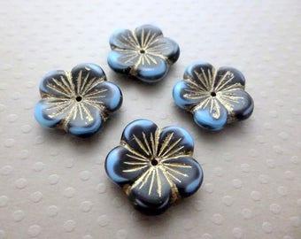 Lot de 4 larges perles fleurs en verre 20x4mm Dark Blue Gold - CBCFL2-1270