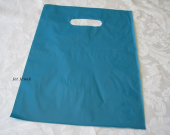 50 Plastic Bags, Blue Bags, Glossy Bags, Gift Bags, Shopping Bags, Party Favor Bags, Merchandise Bags, Retail Bags, Bags with Handles 12x15