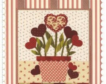 "Small Quilted Wall hanging or Table Mat Pattern from Shabby Fabrics ""little Blessings Blooming hearts"" 12 x 18"""