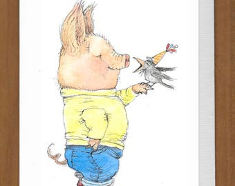 25) Pig with Birdie Birthday Card – A little birdie told me it's your birthday.