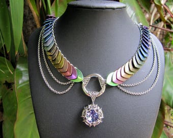 Rainbow Niobium and Stainless Steel Scale-maille Necklace