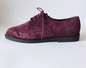 Vintage Paris Sport Club Purple Suede Oxfords, size 8.5
