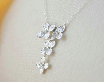 Silver Y- Shaped  Hydrangea Flower Necklace - Dainty Feminine Necklace, Flower Necklace, Flower Cluster Necklace