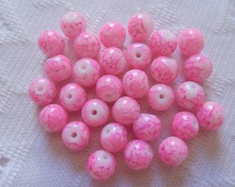 30  Hot Pink & White Veined Round Ball Glass Beads  8mm