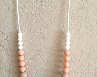 Silicone Teething Necklace, Nursing Necklace, Chew Beads, peach turquoise geometric