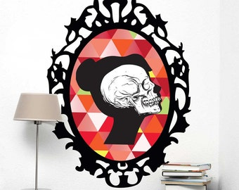 Colorful Skull Cameo Wall Decal - Halloween Geometric Skull Wall Decal by Chromantics