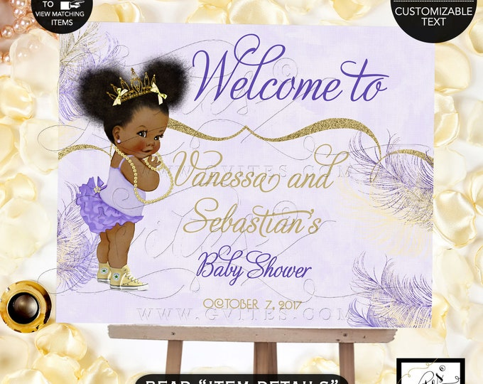Welcome Baby Sign, African American princess baby shower,lavender, purple, gold, yellow tiaras diamonds pearls, digital file, Gvites.