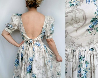 Vintage Low Back Floral Dress with Puff Sleeves - 1980's does 1950's -