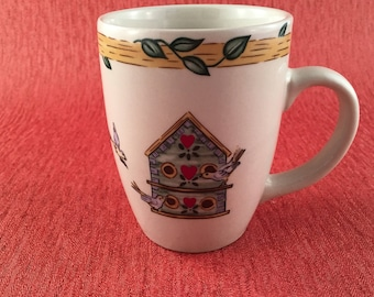 Birdhouse Pottery from Thomson, Thomson Bird House Pottery -Coffee Mugs- Hot Chocolate-Mugs, Vintage Breakfast, Vintage Pottery with Birds