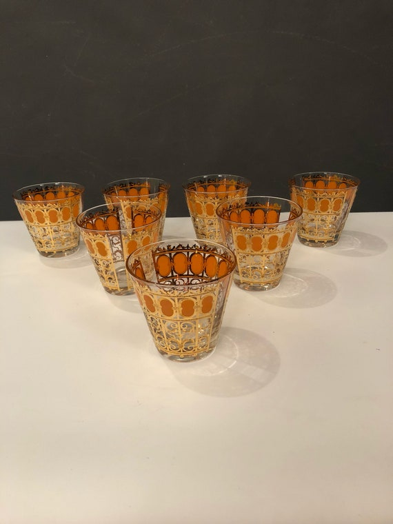 Mid-Century set of seven 22K cocktail glasses by CULVER LTD