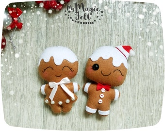 Christmas ornaments felt Gingerbread man ornaments felt Christmas ornament New Year decor Christmas Tree decorations