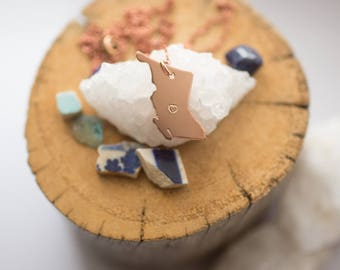 "BC Necklace • Copper British Columbia Pendant • Stamped w/ heart or ""BC"" • 100% Handmade"