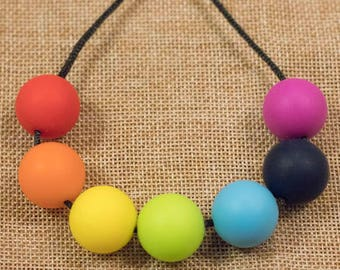 Silicone beads rainbow L