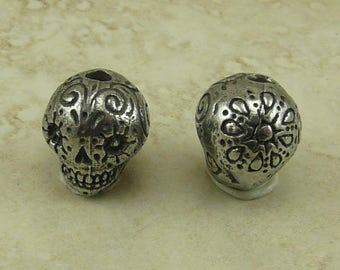 Sugar Skull Green Girl Bead Day of the Dead Dia de los Muertos Skeleton Doodle Swirl Flower American Artist Made Lead Free Pewter Silver 165