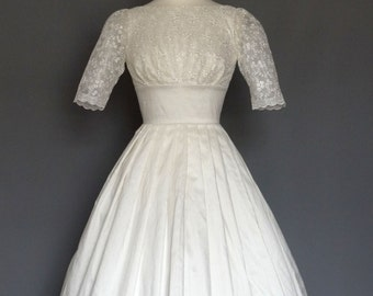 Ivory Silk Dupion and Lace Tiffany - Boat Neck - Wedding Dress- Made by Dig For Victory