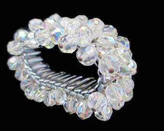 Japan Crystal Cha Cha Bracelet /Aurora Borealis Vitrail Expansion Bracelet /Rainbow Glass Beads Expandable Bracelet/Clear  faceted Crystal