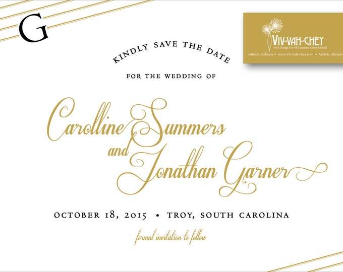 Gold Initial Script Postcard | Save the Date