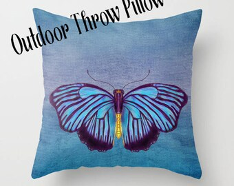 Outdoor Throw Pillow, Blue Butterfly,  Artistic Illustration,  Outdoor decor, patio pillows, cushions, garden, poolside, lounge, beautiful