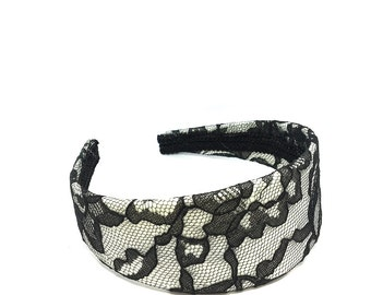 Black Lace and Winter White Extra Wide Headband - Lace Headband - Black and White Lace Covered Headband in Skinny, Standard or Wide Widths