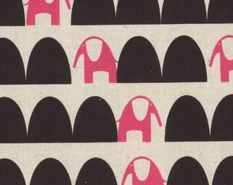 1/2 yard Kokka Parallels by Ellen Baker Cotton Linen Blend | Elephant | 42800-801-C Pink