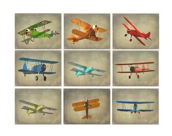 Vintage Airplane Photography, Antique Plane Art, Airplane Nursery, Boy Wall Art, Plane Decor, Biplane Art, Military Plane, War Plane, Gift