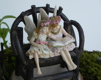 Fairy Garden accessories reading fairy sister friends - accessory- resin twig bench furniture