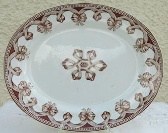 Antique Large Oval Serving Platter by Turner & Tomkinson, Staffordshire, England