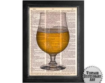 Vintage Glass of Beer - printed on Vintage Dictionary Paper - 8x10.5