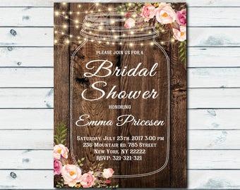 floral invitation, Floral Mason Jar Bridal Shower invitation, rustic Mason Jar Bridal Shower Invite, rustic invitation 1051