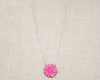 Handmade Pink Flower Necklace Resin Flower Necklace Pink Necklace Pink Flower Pendant Girls Pink Necklace Pink Flower Girl