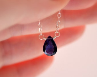 Genuine Iolite Necklace, Water Sapphire Jewelry, Sterling Silver, Navy Blue Gemstone, September Birthstone Necklace