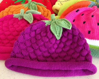 Beauty Berry Knit Hat, Magenta, Purple, Hand Loomed Cotton Knit Cap for Baby & Toddler, Baby Shower Gift, Baby Gift, Free Shipping