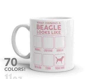 What Owning A Beagle Looks Like Mug - 70 COLORS! - Funny Cute Beagle  Dog Gift - Dog Lover - Personalized Coffee Mug