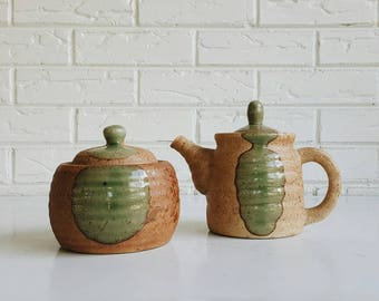 Vintage Ceramic Sugar and Creamer Green and Brown - Modern Farmhouse Kitchen Decor - Earthy Natural Pottery
