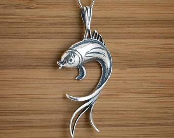 STERLING SILVER Lucky Butterfly Koi Fish Pendant or Necklace - Chain Optional