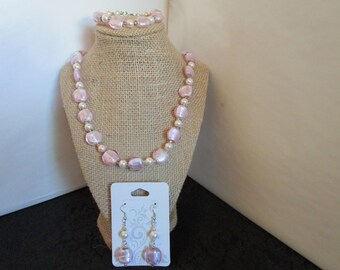 Light Pink Glass Beaded Necklace ,Earrings w/ Bracelet Set