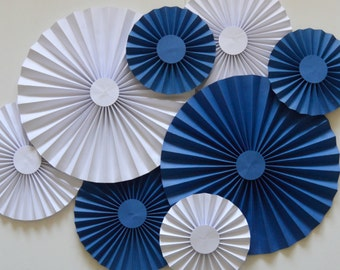 Blue and White Rosettes, Paper Fans, Pinwheels, Party Decoration, Cake Backdrop, Photo Backdrop