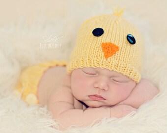 Baby Chicken Hat • Chick Baby Hat • Chicken Newborn Hat • Chick Newborn Photo Prop • Spring Baby Hat • Spring Newborn Hat