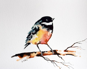 Original Watercolor Bird Painting, Chickadee on A Branch, Colorful Bird Painting 6x8 inch