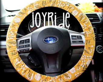 Steering Wheel Cover Vintage Mustard Floral Granny Chic Fabric with Matching Keychain Option Christmas Present for Girls Car Accessories