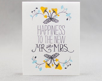 Letterpress Wedding Card, Happiness to the new Mr. and Mrs.