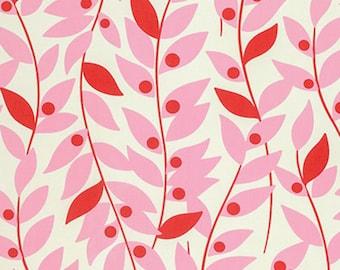 SALE Free Spirit Heather Bailey - NICEY Jane -Lindy LEAF-Pink -  1 Yard Cut