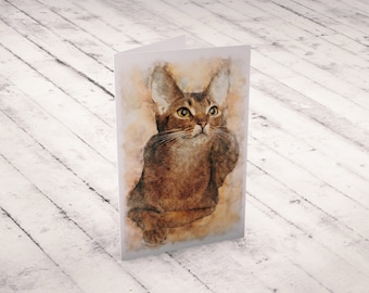 Abyssinian Cat Greeting Card Watercolor Animal Cards Blank Greeting Card Cat Lover Gift Watercolor Cat Card Watercolor Abyssinian Kitten
