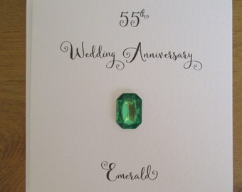 55th anniversary card- Emerald-  Emerald wedding anniversary card - traditional handmade gift - Husband, Wife